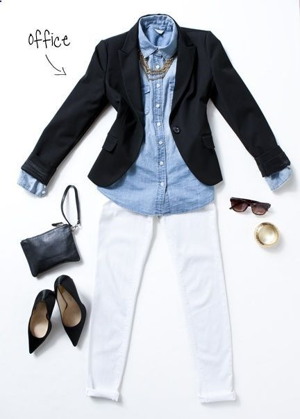 2128655198619263091561 A chambray shirt, black blazer, white dress pants, and black pointy toe flats for work.