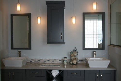contemporary bathroom by Kristi Anderson in a home by Triton Homes (Bismarck)