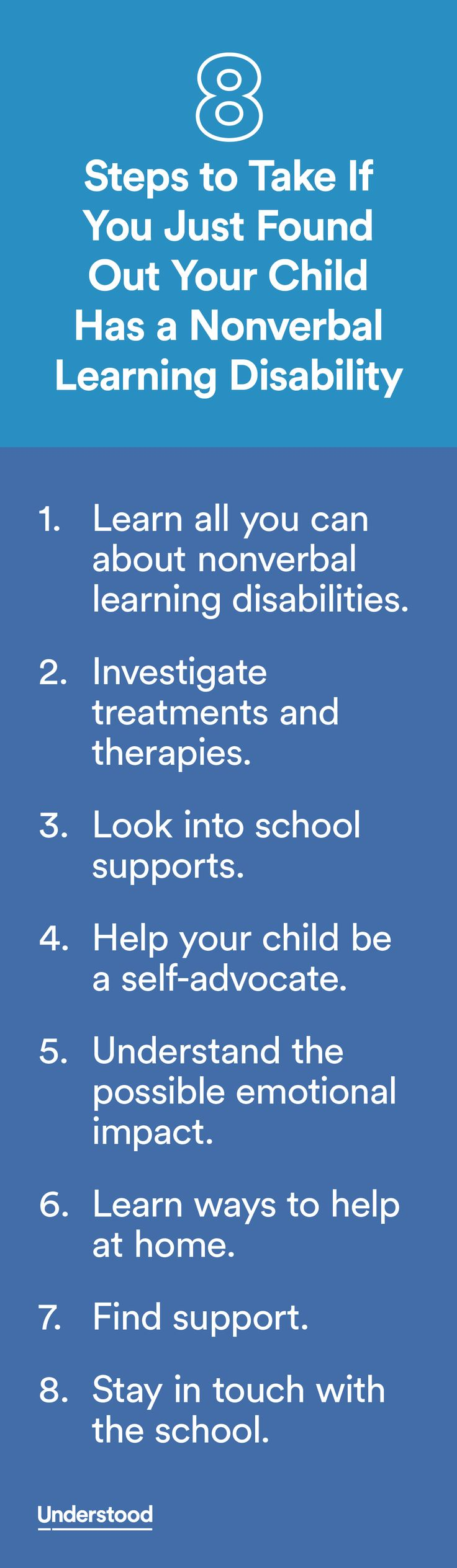 If you recently found out your child has a nonverbal learning disability (NVLD), you may feel unclear about what to do next. These steps can offer guidance about ways to help him at school, at home and as you help him plan his future.