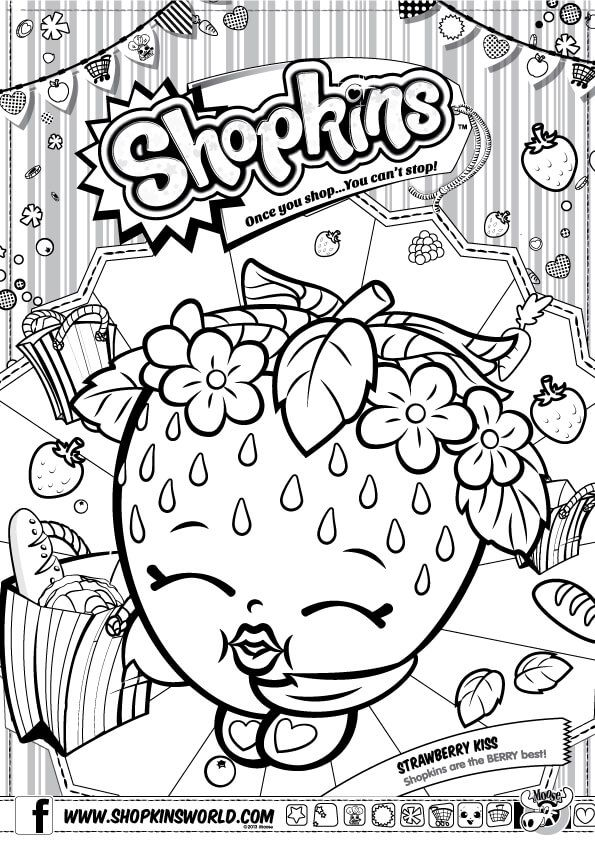 shopkins strawberry kiss coloring pages printable and coloring book to print for free find more coloring pages online for kids and adults of shopkins - Hopkins Coloring Pages Print