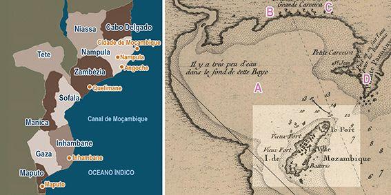 Post - Continente e ilhaMoçambique, à esquerda o país; à direta, a ilha (mapa de J. N. Bellin, 1764).