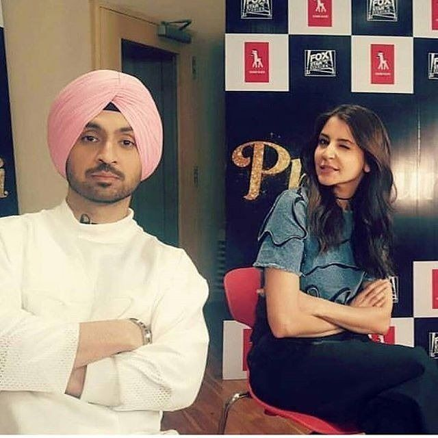 Diljit Dosanjh and Anushka Sharma clicked during promotions of their upcoming movie @bollywood