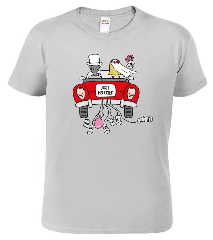 Milé svatební tričko s motivem novomanželů v kabrioletu a nápisem