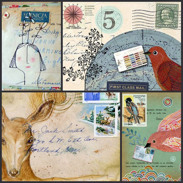 mixed media mail art. Loving the idea of putting stamps together and creating the letter.