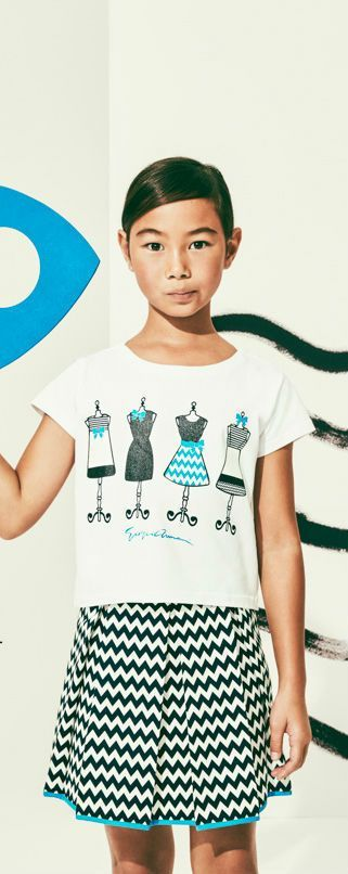 Armani Junior Girls Fashion White Shirt and Black & White Chevron Skirt Spring Summer 2018. Streetwear look that's perfect for casual occasions. Inspired by the Armani Women's Collection.  #armanijunior #kidsfashion #fashionkids #girlsdresses #childrensclothing #girlsclothes #girlsclothing #girlsfashion #minime #mommyandme #cute #girl #kids #fashion
