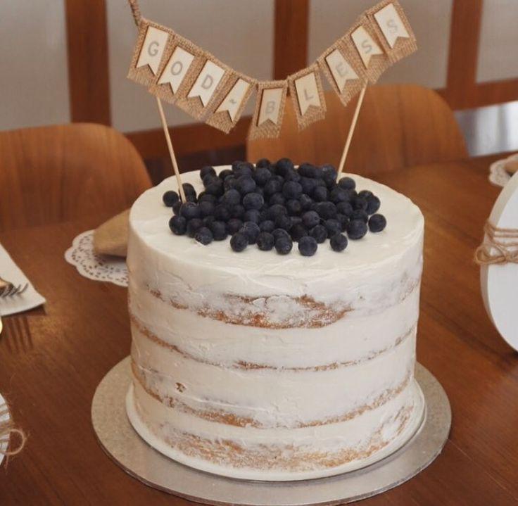 Christening buttercream naked cake.