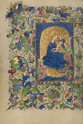 The Virgin and Child with Angels,  Flemish, probably Ghent, about 1450 - 1455  Tempera colors, gold leaf, gold paint, and ink on parchment