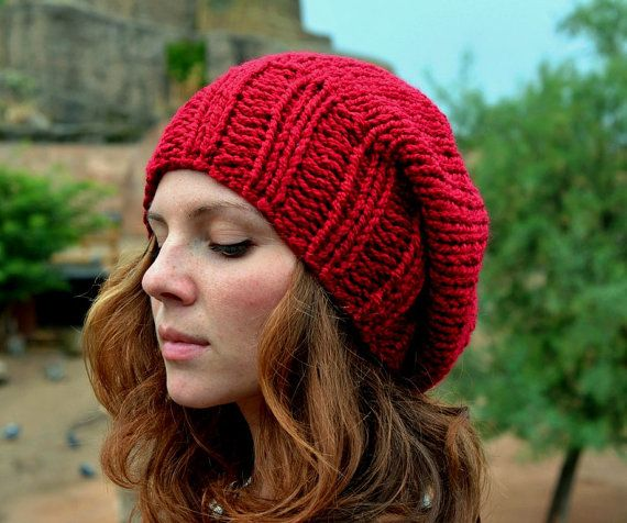Women's Knitted Hat, Women's Winter Slouchy Hat, Women's Fashion, Fall Fashion, Red Burgundy Slouch Beanie Hat