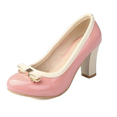 De lakleder vrouwen dikke hak ronde neus pumps schoenen (meer kleuren) – EUR € 29.99
