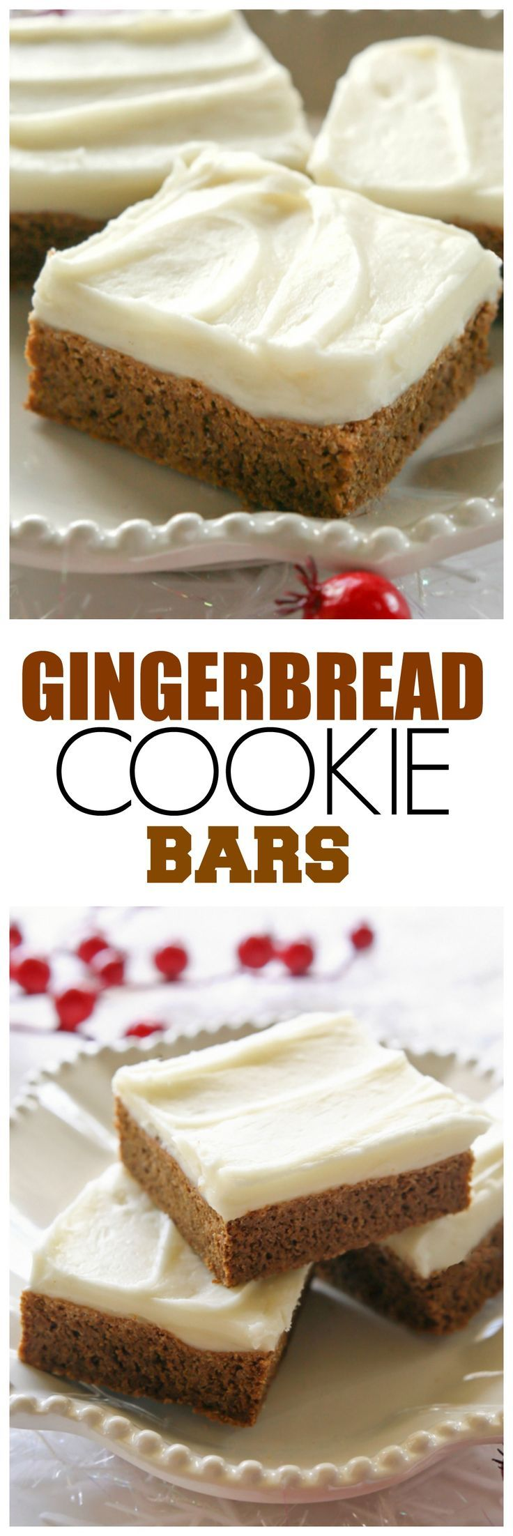 Gingerbread Cookie Bars - incredibly soft and chewy. Way easier than making gingerbread men.