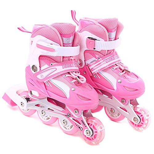 Children's Inline Skates - Girls Inline Skates Adjustable Rollerblades for kids with Illuminating Wheel the Premium Breathable Mesh Roller Skates w Double Secure Lock  Offer Safer Experience of Roller Skating ** Be sure to check out this awesome product.