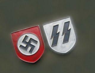WAFFEN SS SHIELD BADGE PITH HELMET INSIGNIA GERMAN WW2 PRICE $40