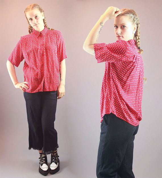 Vintage 80s Top Red White Printed Cotton by BadassVintageRevival