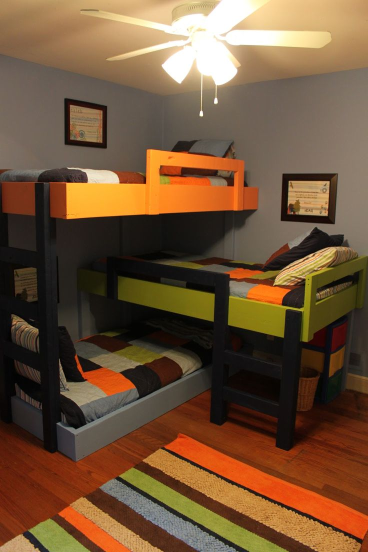 best bunk bed ideas images on pinterest  bedroom ideas  - spacesaving triple bunkbeds ((my girls already have triple bunks but ittakes up half the room this is an interesting setup