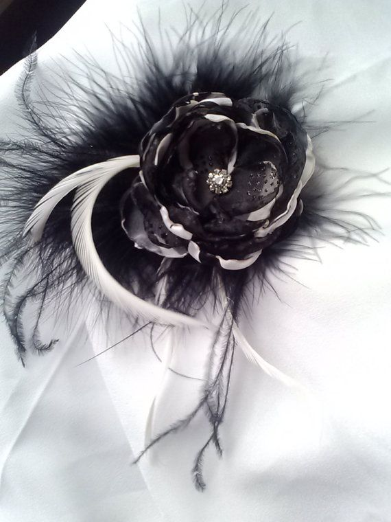 Zebra print black and white flower with feathers, zebra wedding accessory/photography prop,elegant black and white fascinator on Etsy, $20.00