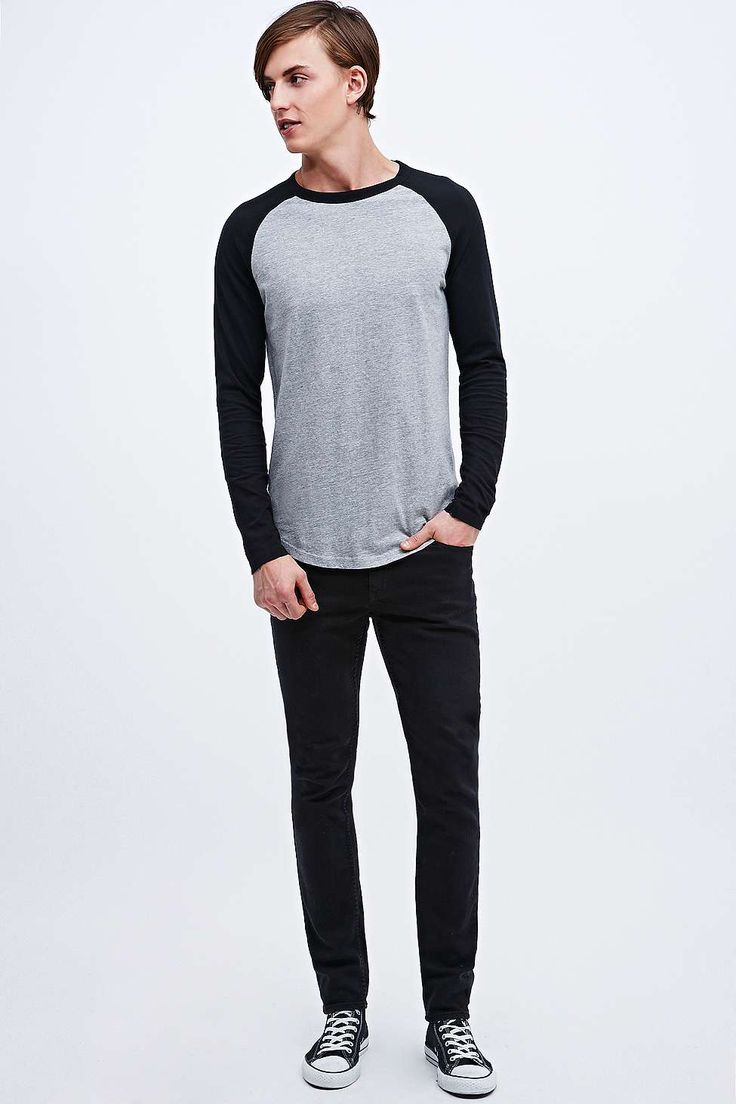Commodity Stock Raglan Tee in Grey and Black