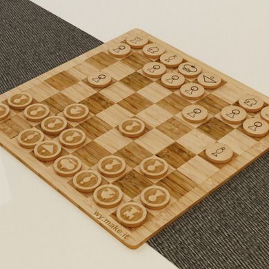 Laser cut, laser engraved chess pieces