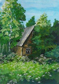 #дом #набросок #гуашь #акварель