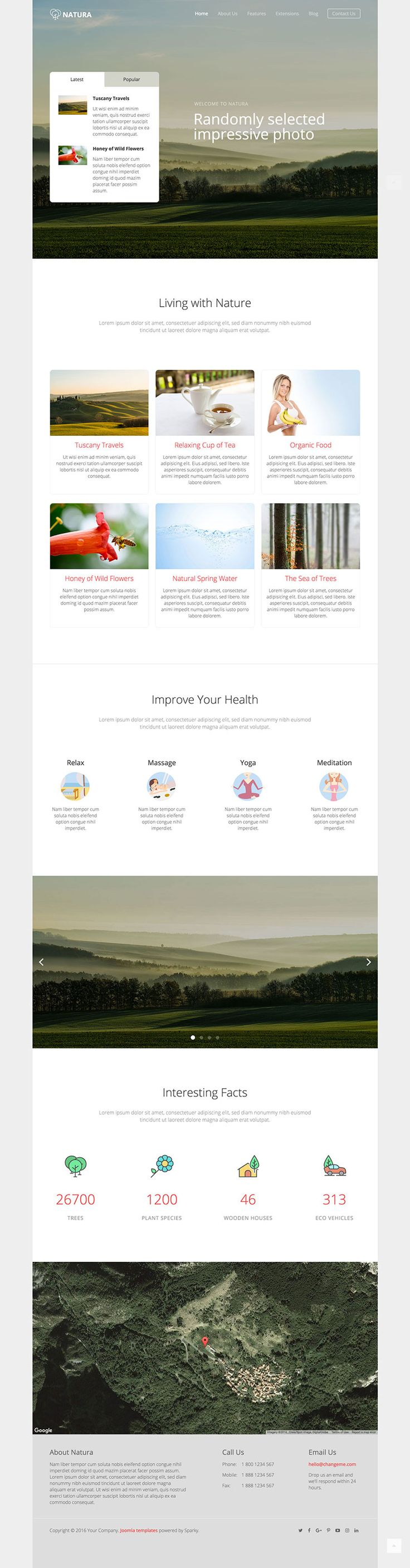Hot Natura template for #Joomla is recognizable by its dominant big headers on home and inner pages. These headers contain randomly selected images of beautiful landscapes and nature scenes.