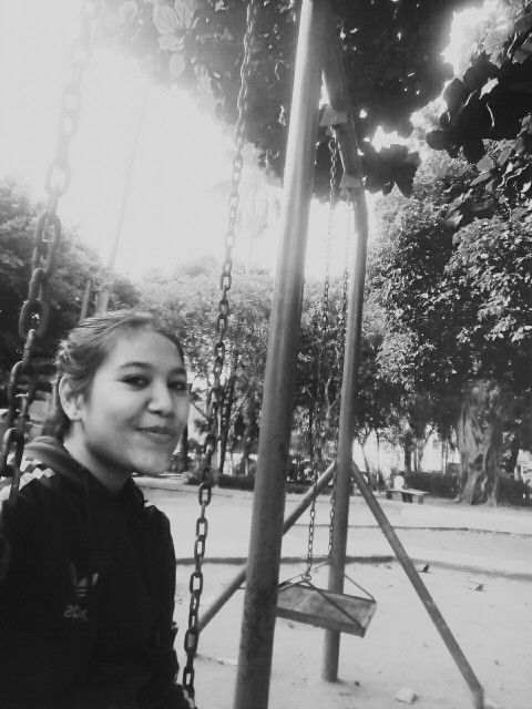 Lets swing away in the park, after long track of jogging.