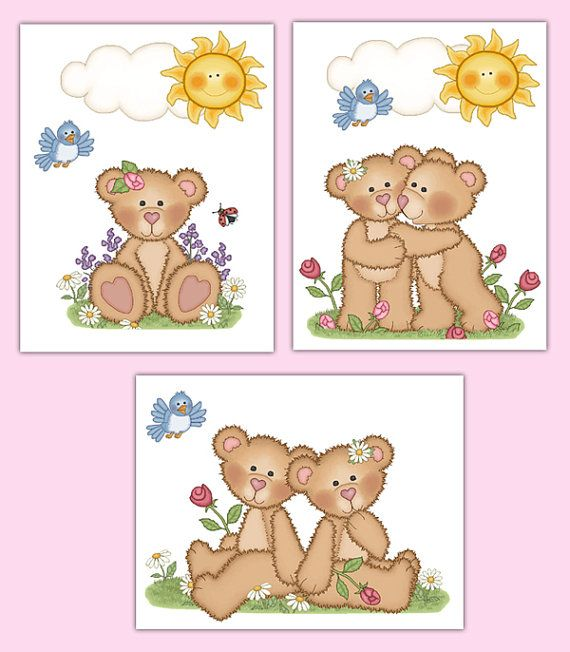 Woodland Nursery Prints Or Decal Teddy Bear Wall Art Girl Forest Animal  Stickers Part 85