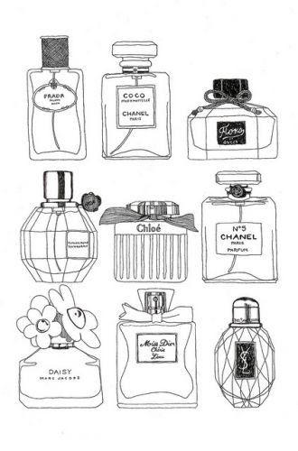 fancy perfume bottles illustration, simple black & white sketch, drawing, illustration