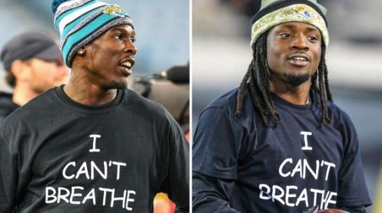 """Jacksonville Jaguars' Players Wear """"I Can't Breathe"""" Shirts Before Thursday Night Game… 