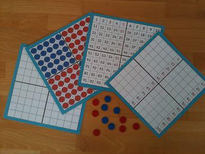 Veranschaulichung des Zahlenraums 100 (Zehner- und Zwanzigerstreifen / Hunderterfeld / Wendeplättchen) für den Mathematikunterricht der Grundschule.