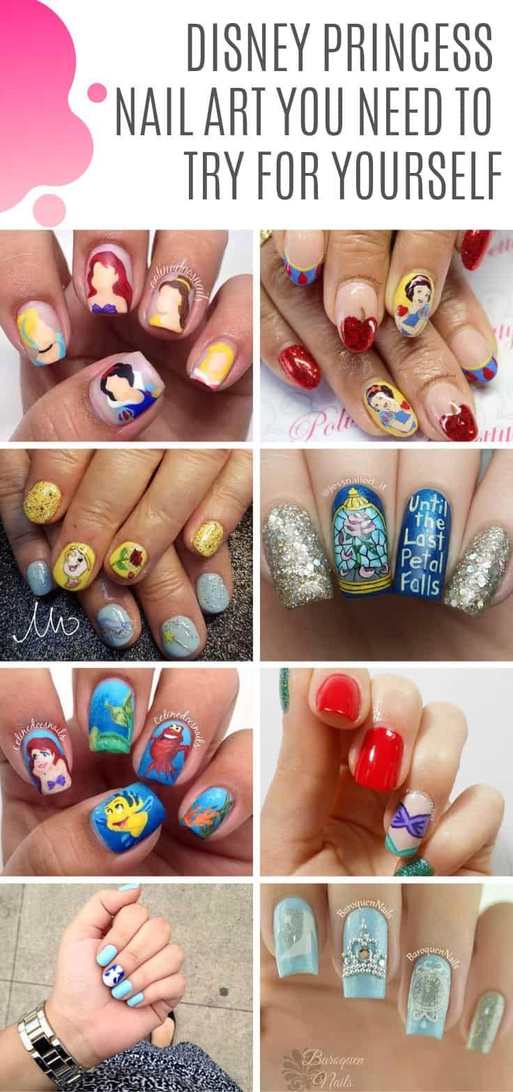 57 Magical Disney Nail Art Ideas Inspired By Your Favorite Movies Disney Princess Nail Art Nail Art Disney Disney Acrylic Nails