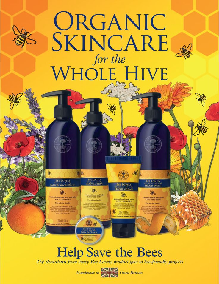 save the bees! They're being depleted @ an astounding rate. Neal's Yard Remedies has taken it upon themselves to help out as much as they can. Honey based range from hand lotion to lipbalm.