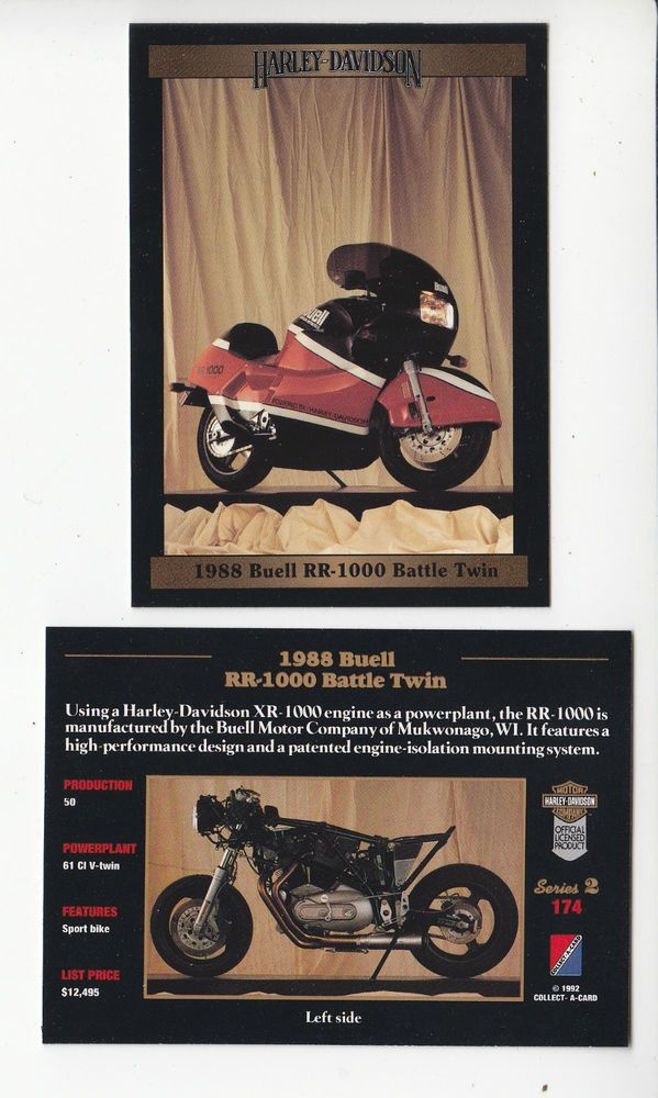 1988 HARLEY-DAVIDSON Buell RR-1000 Battle Twin 61 Motorcycle Photo TRADING CARD…