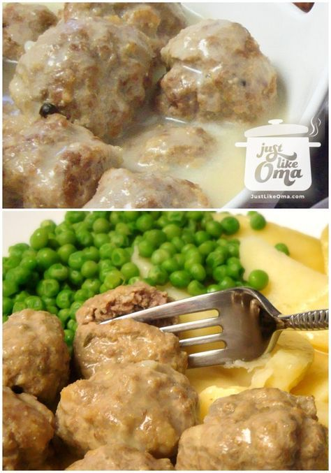 Yummy German meatballs, called Königsberger Klopse with a Hollandaise sauce - http://www.quick-german-recipes.com/german-meatballs.html ❤️ Like it! Share it!