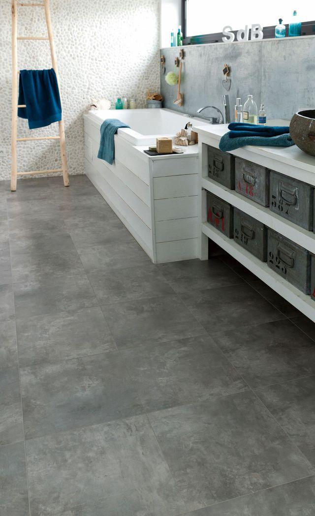 Lino salle de bain saint maclou sol vinyle luna carrelage for Lino damier noir et blanc