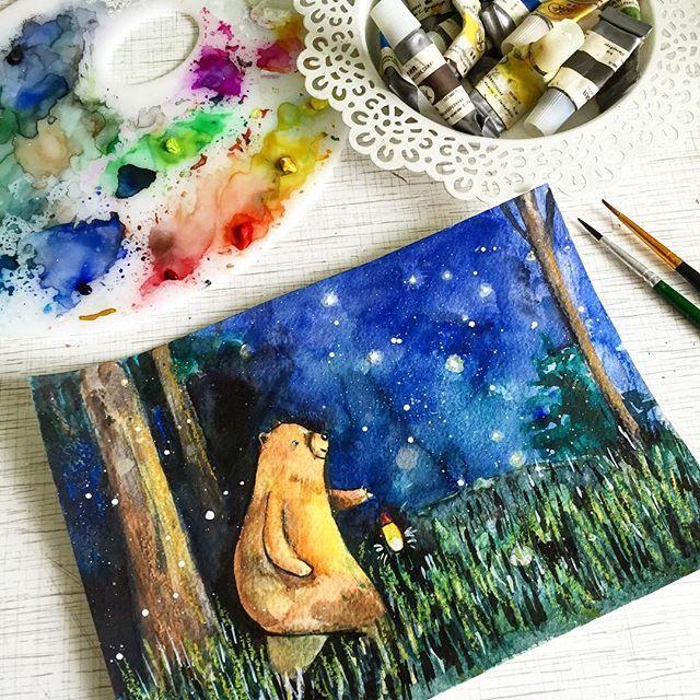 Мишка косолапый по лесу идёт ✨ #prokhorovaart #illustration #watercolor #акварель #иллюстрация