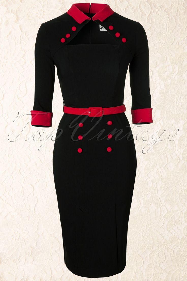 Bunny collectie -De50s Clara Pencil Dress in Blackiseen opvallend pencil jurkje in vintage fifties style met een sexy keyhole detail.Opvallend bij dit aansluitende jurkje zijn het kleine kraagje met haaksluiting waardoor een diamantvormige halslijn ontstaat, oh la la! De rode knoopdetails op het lijfje zorgen voor een optisch slanker effect en vormen een mooi contrast met de zwarte stof. Uitgevoerd in een stevige superstretchy stof voor een perfecte pasvorm en af...
