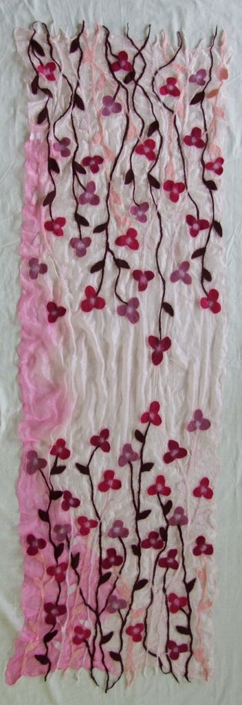 100% natural and handmade silk scarves with felt ornaments by Tumar Art Group. Ornaments can be in Kyrgyz national traditional style or in modern, all are attractive and functional as well as of high quality.
