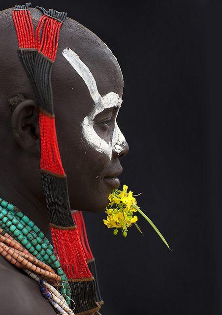Karo woman with flowers - Korcho Ethiopia