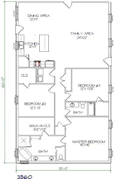 17 best ideas about barndominium floor plans on pinterest for 35x60 house plans