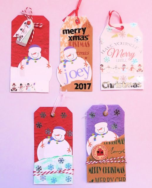 Lisa's Christmas Tags made using the July 2017 kit from Scrapping Fun Kits