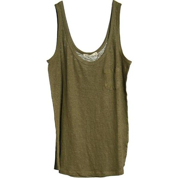 Loft Design By -50% Lyne Linen Top Khaki ($30) ❤ liked on Polyvore featuring tops, tank tops, shirts, tanks, women, brown shirt, khaki tank top, brown tank, brown tank top and khaki top