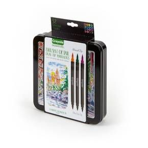 Dual-Tip Fine Line and Brush Tip Markers provide great creative versatility in coloring and art projects. Sketch, draw, and blend colors for great outcomes. Twice the colors, create double the coloring fun!