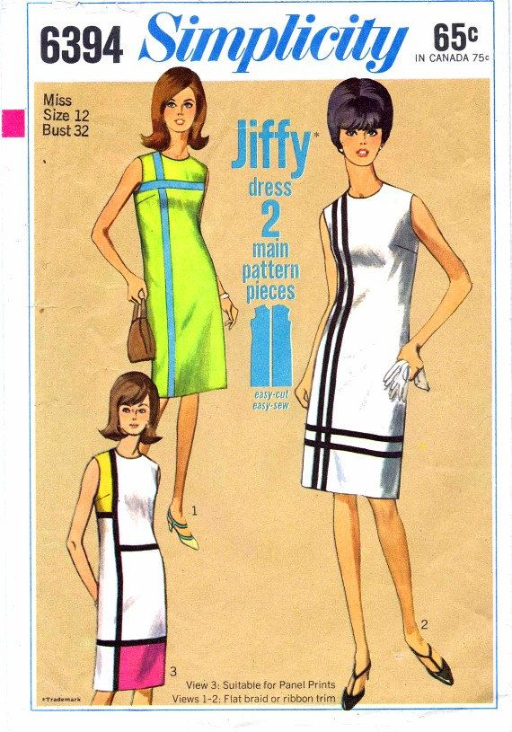 1960s Simplicity 6394 Womens Mondrian Mod Shift by patternshop,