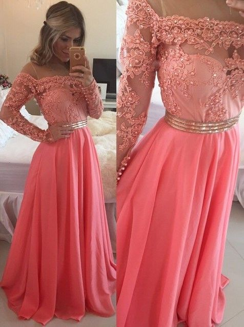 Sexy A-Line Off the Shoulder Floor Length Watermelon Prom/Evening Dress with Long Sleeves