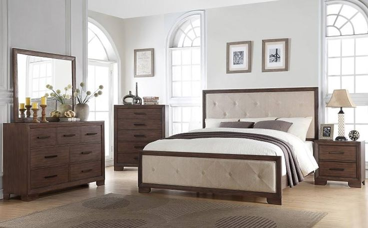 McFerran Home Furnishings - B510 4 Piece California King Bedroom Set in Weathered Wood - B510-CK-4SET