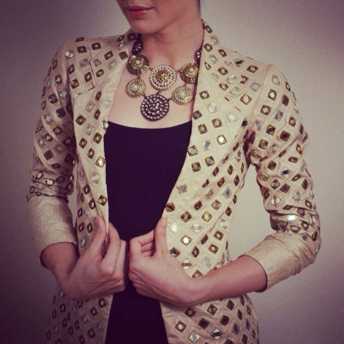 Papa Don't Preach Jacket Gold Mirrorwork Contemporary Cocktail