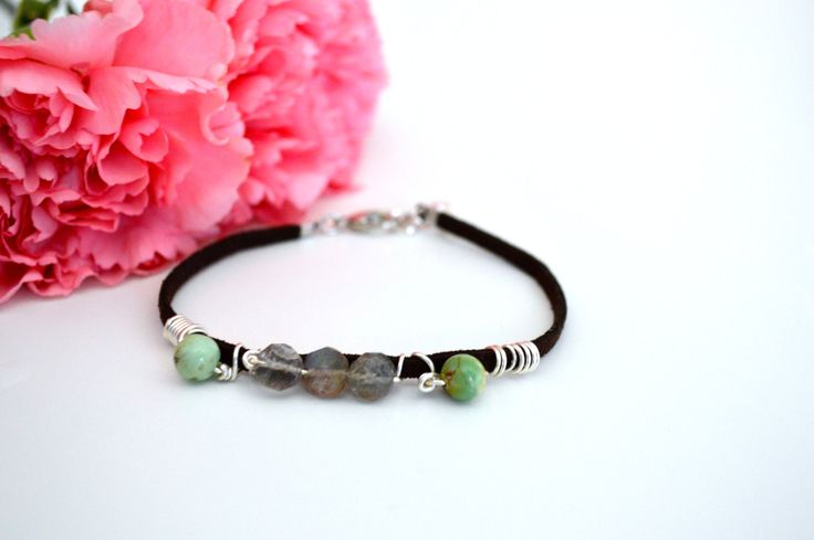 Brown+Soft+Suede+Bracelet+Chrysoprase+Bracelet+by+KEYZandMore,+$14.00