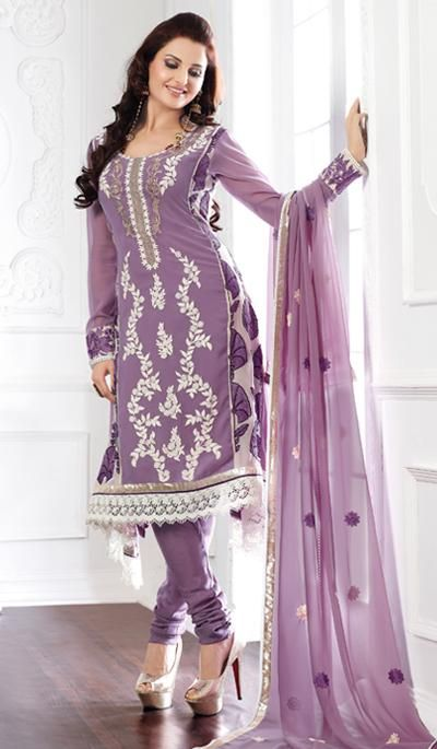 G3 fashions Lavender Georgette Party Wear Designer Salwar