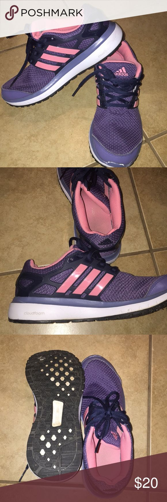 Adidas running shoes Super cute pink and purple adidas running shoes. Like new!! adidas Shoes Sneakers #runningshoes