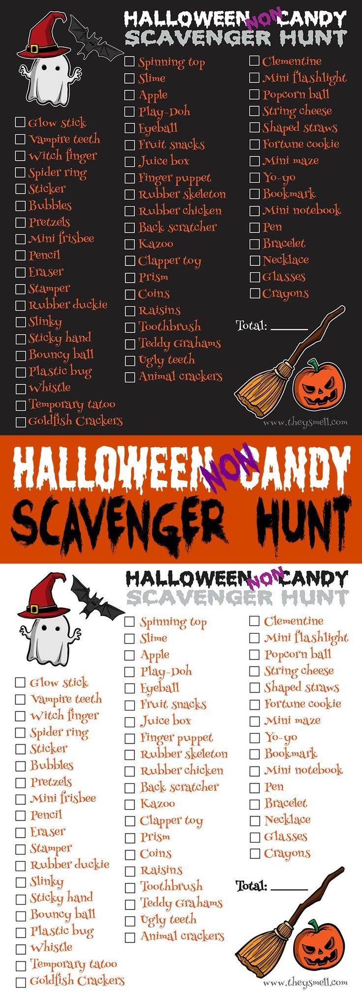 Halloween NON-Candy Scavenger Hunt Printable - take your Trick-Or-Treating, Trunk or Treat or other Halloween event to the next level with a fun scavenger hunt! They check off the boxes for each non-candy item they collected and the kid with the most boxes checked is the winner!