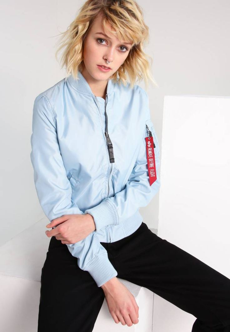 """Alpha Industries. Bomber Jacket - air blue. Outer fabric material:65% nylon, 35% polyester. Pattern:plain. Care instructions:Dry clean only. Sleeve length:long,25.5 """" (Size S). Back width:15.5 """" (Size S). Fit:regular. Our model's height:Our ..."""